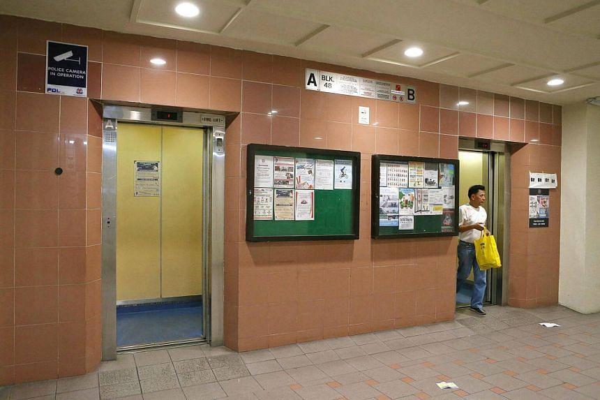 The lift lobby at a HDB block at Lorong 5 Toa Payoh.