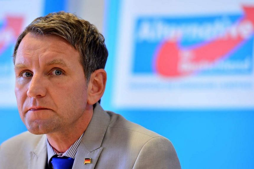 Bjoern Hoecke, head of right-wing party Alternative for Germany (AfD) in the German eastern state of Thuringia, speaks at a press conference.