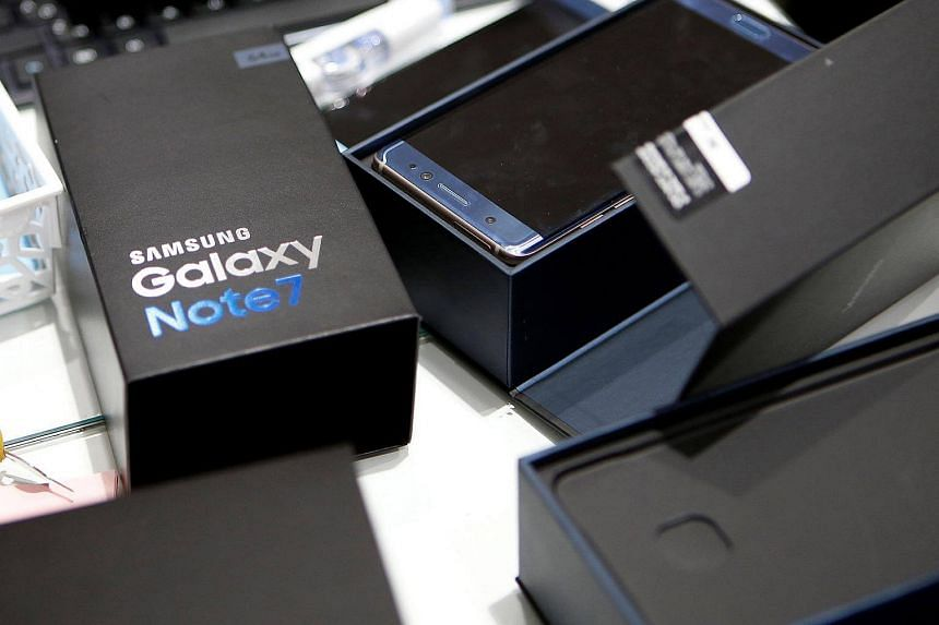 An exchanged Samsung Electronics' Galaxy Note 7 is seen at the company's headquarters in Seoul, South Korea.