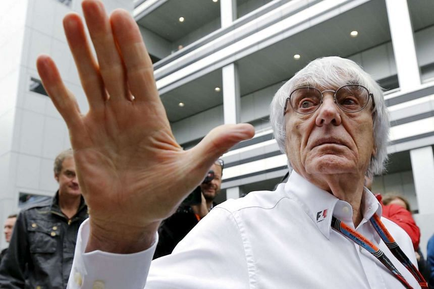 Bernie Ecclestone speaking to the media at the paddock area ahead of the Russian F1 Grand Prix in Sochi, Russia, on Oct 9, 2015.