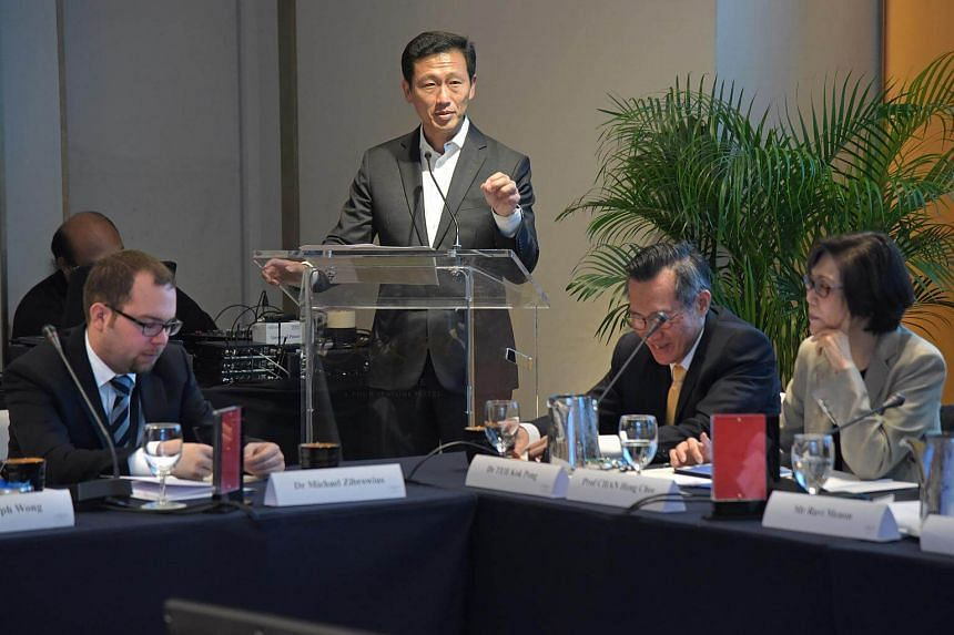 Education Minister Ong Ye Kung making his opening remarks and answering questions during the Q&A at the International Roundtable on The Future of the Economy at the Regeant Hotel, Jan 24, 2016.