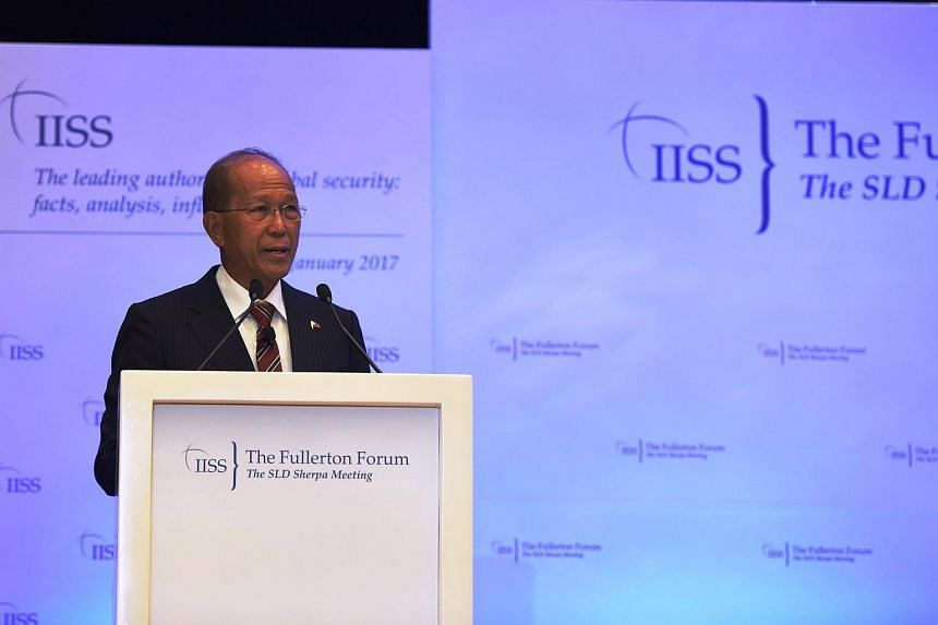 Secretary Lorenzana delivering the Special Address at the Delegates' Dinner for the Shangri-La Dialogue Sherpa Meeting on Monday evening.