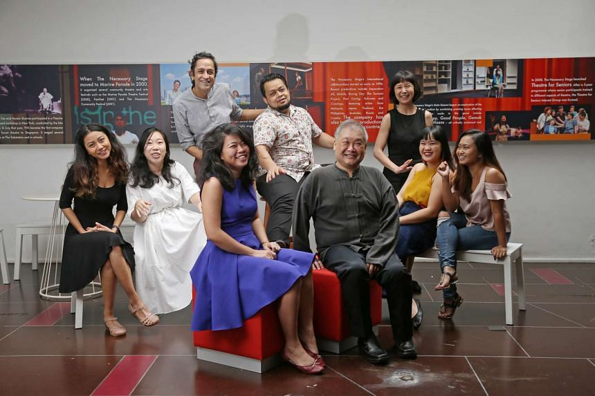 The Necessary Stage team comprises (clockwise from left) Azy, Karmen Wong, Haresh Sharma, Mish'aal, Melissa Lim, Irma Suzanna Ruslan, Edlyn Ng, Alvin Tan and Jezamine Tan.