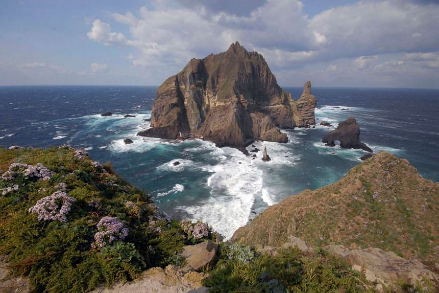 A general view shows a part of the group of islets known in South Korea as Dokdo and in Japan as Takeshima in the Sea of Japan.