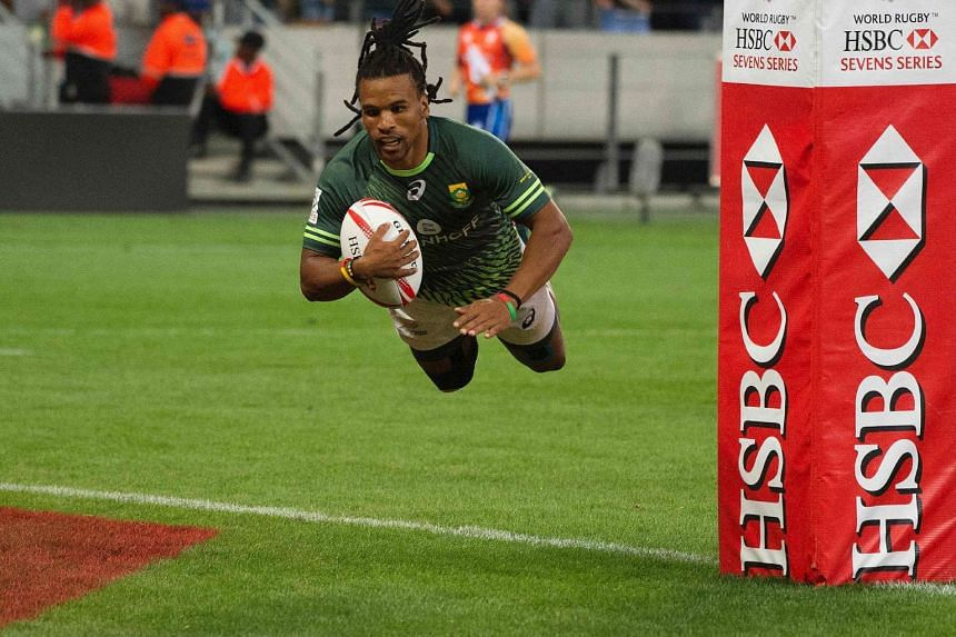 South Africa's Rosko Specman scores a try during the World Rugby Sevens Series final match South Africa vs England, on Dec 11, 2016, in Cape Town.