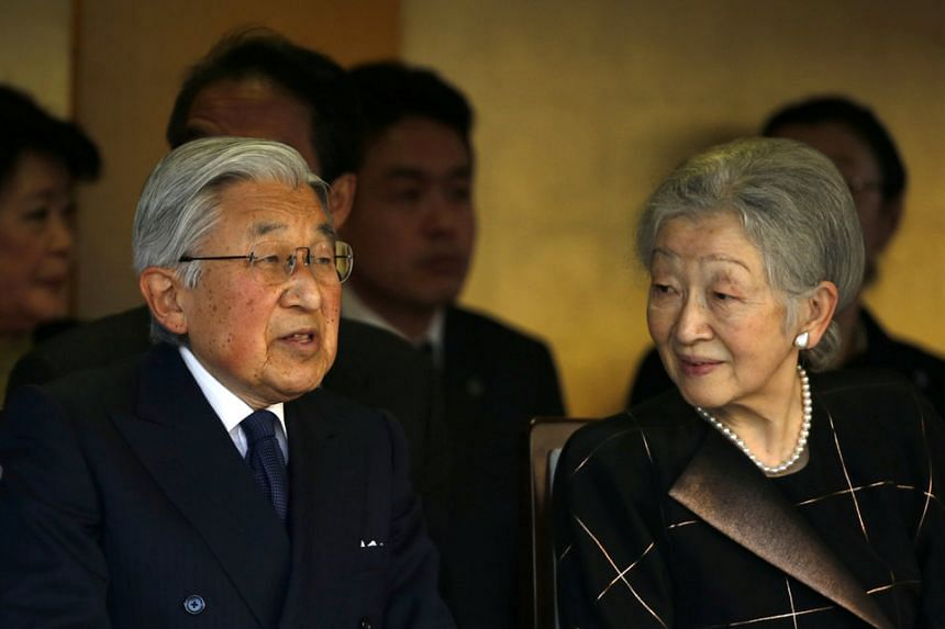 Japanese Emperor Akihito (left) and Empress Michiko watch a martial art competition celebrating the 130 years of anniversary of the foundation of the Imperial Guard in Tokyo, Japan on Jan 19, 2017.