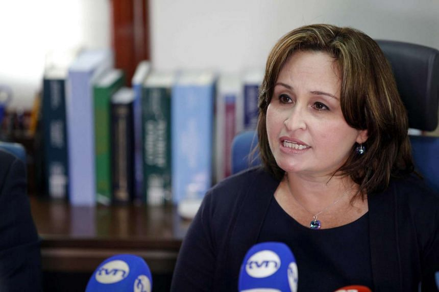 Panama's attorney general, Kenia Porcell, speaks to the press in Panama City, Panama on Jan 24, 2017.
