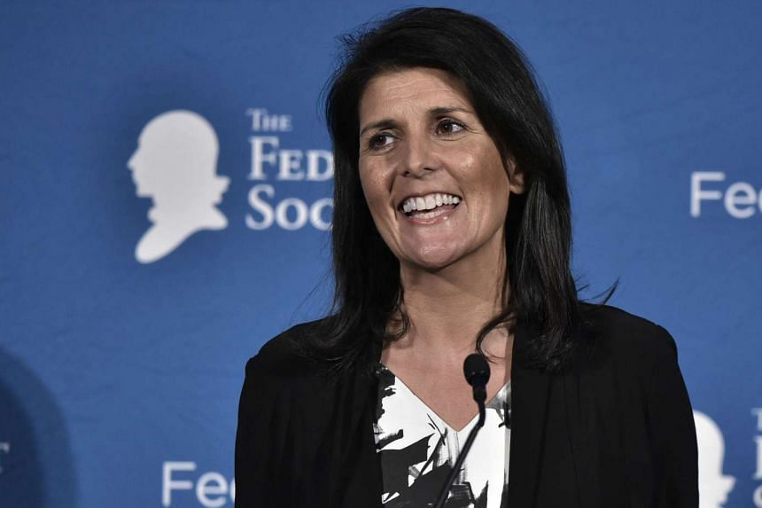 South Carolina Governor Nikki Haley speaking during the 2016 National Lawyers Convention sponsored by the Federalist Society in Washington, DC.