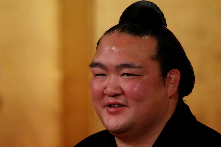 Japanese sumo wrestler Kisenosato speaking to the media after he received official notice of his promotion to Yokozuna, on Jan 25, 2017.