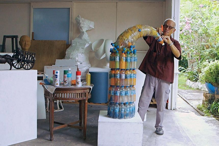 """Mr Lim in his studio space at Telok Kurau Studios. The veteran artist said his move to the place, the first visual artist centre developed by the NAC, was the turning point in his career. """"The space allowed me to create and experiment with my art. Ha"""