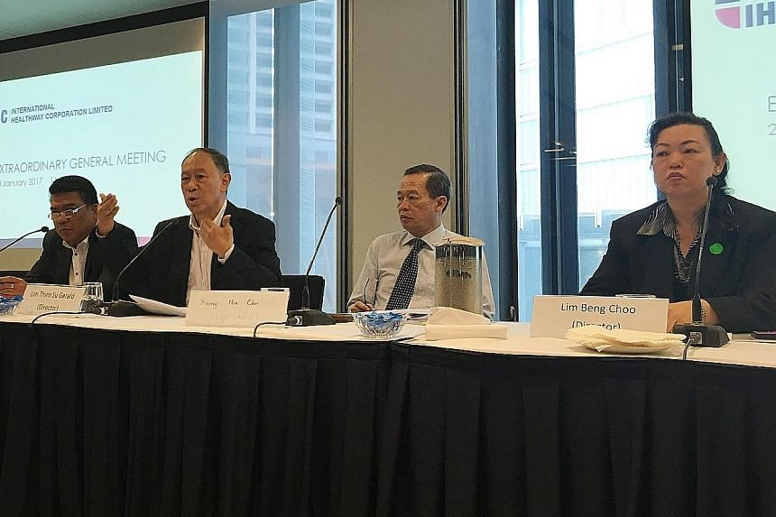 Ousted International Healthway Corp (IHC) directors (from left) - Mr Jojo Alviedo, Mr Lim Thien Su Gerald and Ms Lim Beng Choo - at the extraordinary general meeting on Monday at Maxwell Chambers. Also present was Mr Yoong Nim Chor, IHC's legal advis