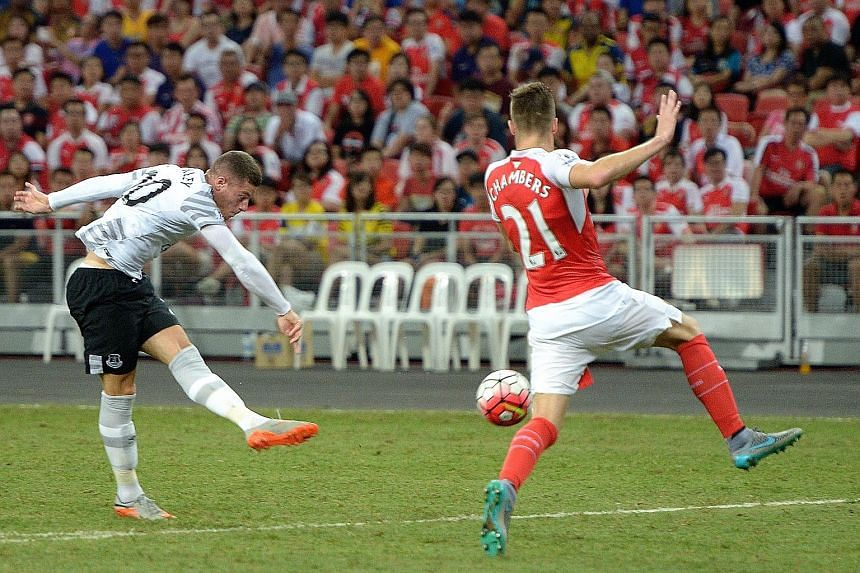 Ross Barkley scoring for Everton in their eventual 3-1 defeat by Arsenal when the two sides contested the Premier League Asia Trophy at the National Stadium in 2015.
