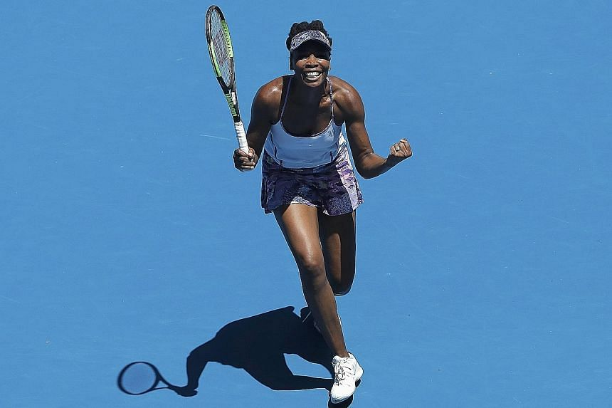 Venus Williams celebrating after she wound back the clock to down Russia's Anastasia Pavlyuchenkova 6-4, 7-6 (7-3) yesterday to make the semi-finals of the Australian Open for the first time since 2003.