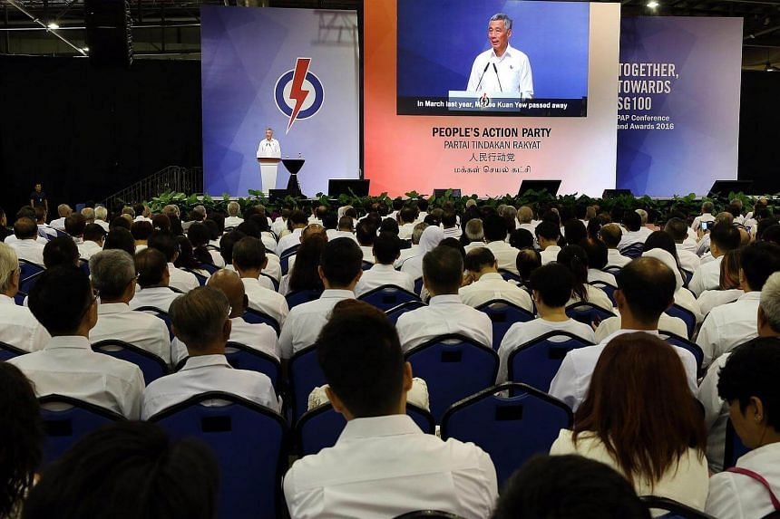 Prime Minister Lee Hsien Loong delivering his speech at the PAP Party Conference and Awards Ceremony on Dec 4, 2016.