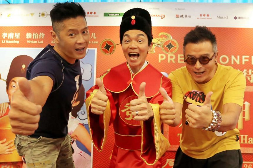 The Fortune Handbook's three leads, (from far left) Li Nanxing, Mark Lee and Christopher Lee, are also listed as the film's executive producers.