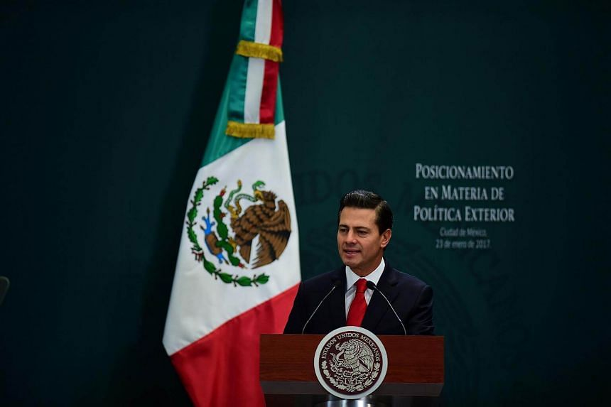 Mexican President Enrique Pena Nieto gives a foreign policy speech after US President Donald Trump vowed to start renegotiating North American trade ties, in Mexico City.