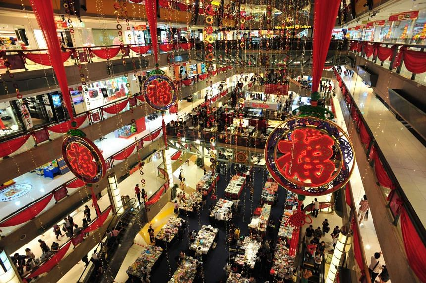Chinese New Year (Lunar New Year) decorations in the Plaza Singapura mall, on Jan 20, 2012.
