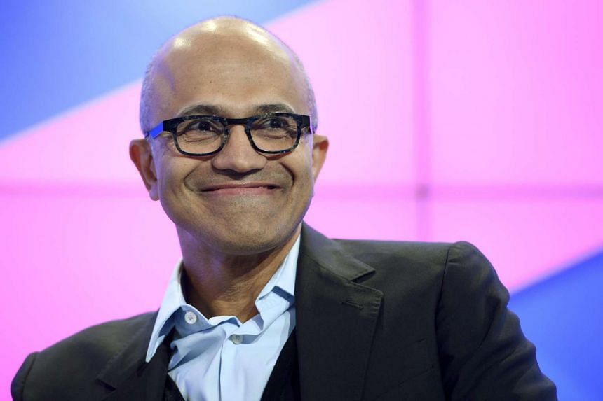 Microsoft CEO Satya Nadella speaks during a panel session on day one of the 47th Annual Meeting of the World Economic Forum (WEF) in Davos, Switzerland, on Jan 17, 2017.