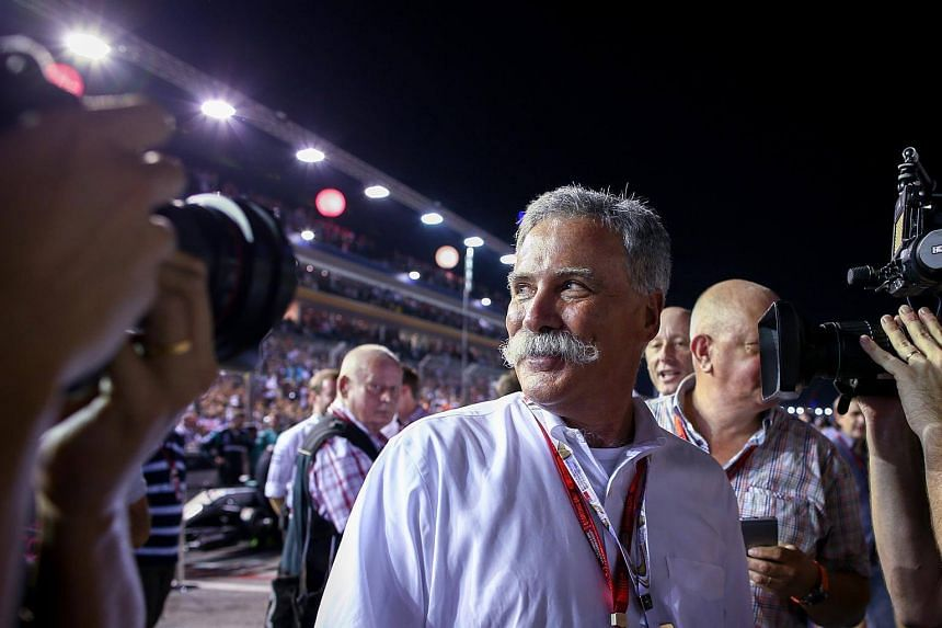 Mr Chase Carey, F1 chairman, walks on the track before the start of the Singapore Formula One Grand Prix night race in Singapore.