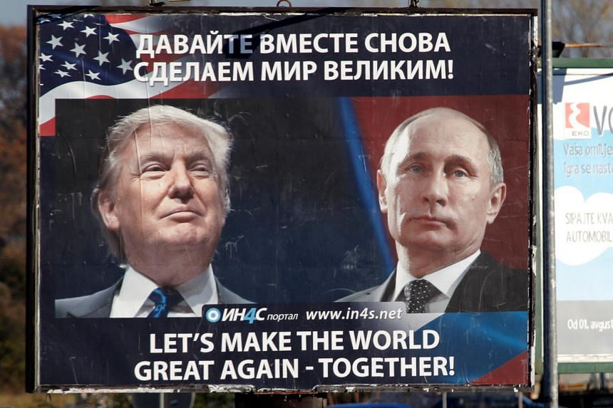 A billboard showing pictures of US President Donald Trump and Russian President Vladimir Putin in Danilovgrad, Montenegro on Nov 16, 2016.