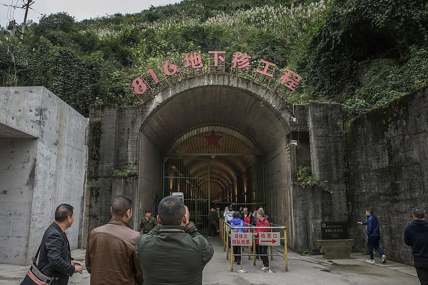 The entrance to the former 816 nuclear plant at a mountain site. Initiated in the 1960s, during the height of tensions between China and the then Soviet Union, the 816 project was China's first attempt to build a nuclear reactor that could produce we