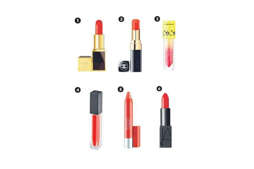 1. Lips & Boys in Cristiano, 2. Rouge Coco Shine in Corail Radieux, 3. Give Me Luck In Liquid Lips Juicy in OR211, 4. Lip Gloss in Tulip, 5. Colorburst Balm Stain in Rendezvous and 6. Audacious Lipstick in Lana