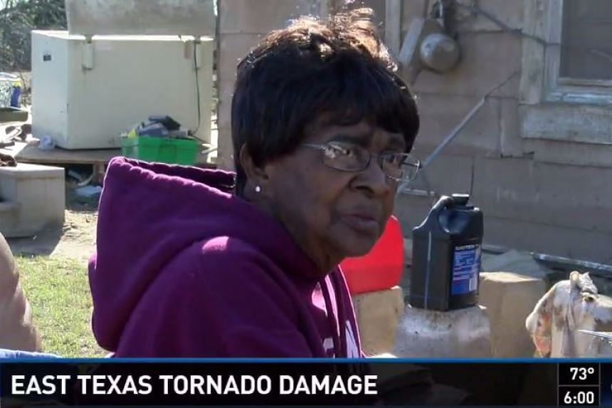 Mrs Charlesetta Williams and her son were blown away by the tornado, in a bathtub, but survived.
