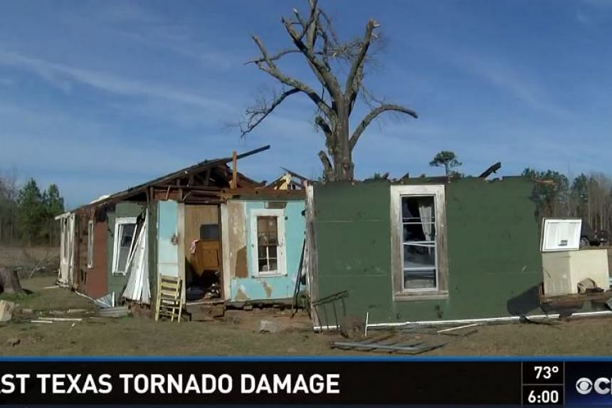 Damage to Mrs Charlesetta Williams house in Louisiana by the tornado.