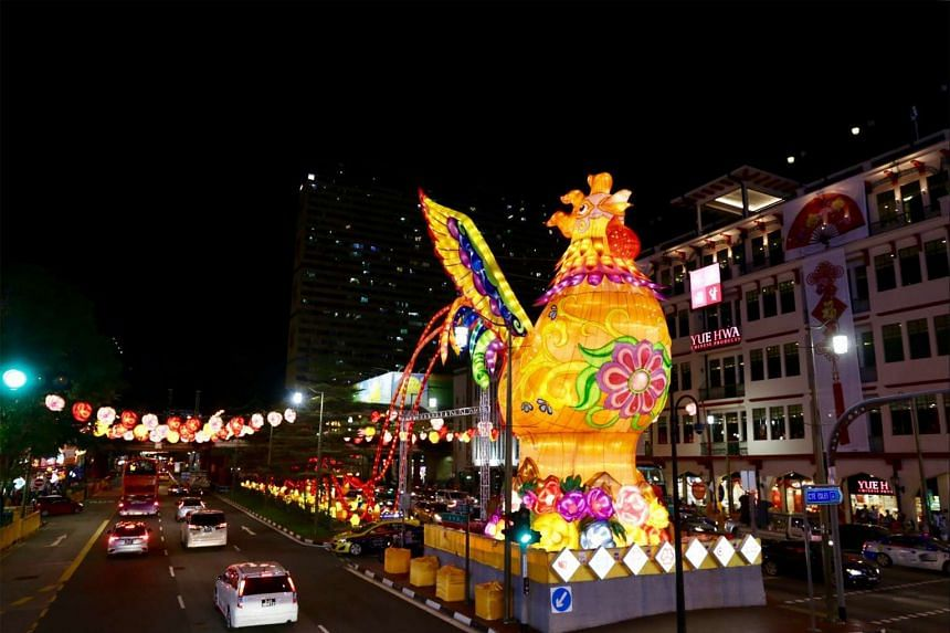 A 13m-tall rooster with outspread wings, the centrepiece of this year's Chinatown light-up, at the junction of Eu Tong Sen Street, New Bridge Road and Upper Cross Street. ST