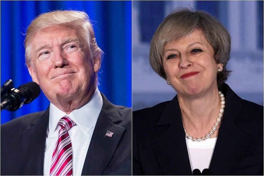 "British Prime Minister Theresa May (right) called on US President Donald Trump to renew the ""special relationship"" between Britain and the United States."