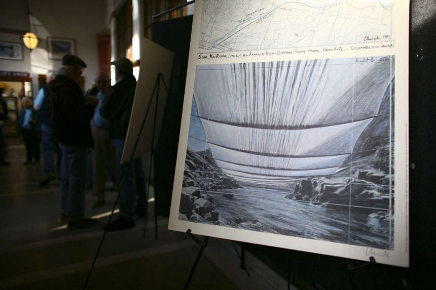 Concept art for Christo's proposed installation to drape the Arkansas River with fabric, at the Fremont Center for the Arts in Canon City, Colo., Feb 1, 2012.