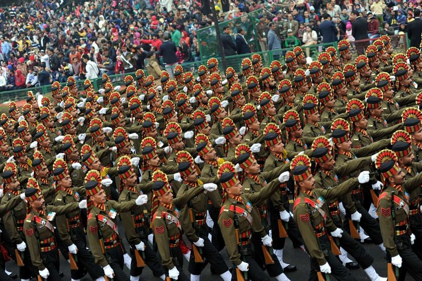 Soldiers of Indian Armed forces marching during the 68th Republic Day Parade in New Delhi, on Jan 26, 2017.