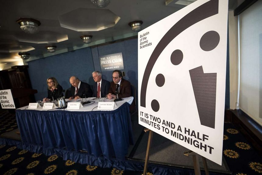 The Bulletin of Atomic Scientists hold a news conference to announce that the time for the so-called 'Doomsday Clock' has moved to two and a half minutes to midnight at the National Press Club in Washington, DC, USA, on Jan 26, 2017.
