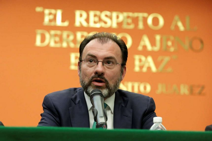 Mexico's Foreign Minister Luis Videgaray speaks about US President Donald Trump wanting to impose a 20 percent tax on goods from Mexico to pay for a wall at the southern US border.