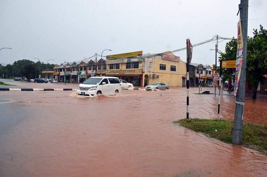 Flooded roads in Segamat, Johor where many of its roads were closed to light vehicles.