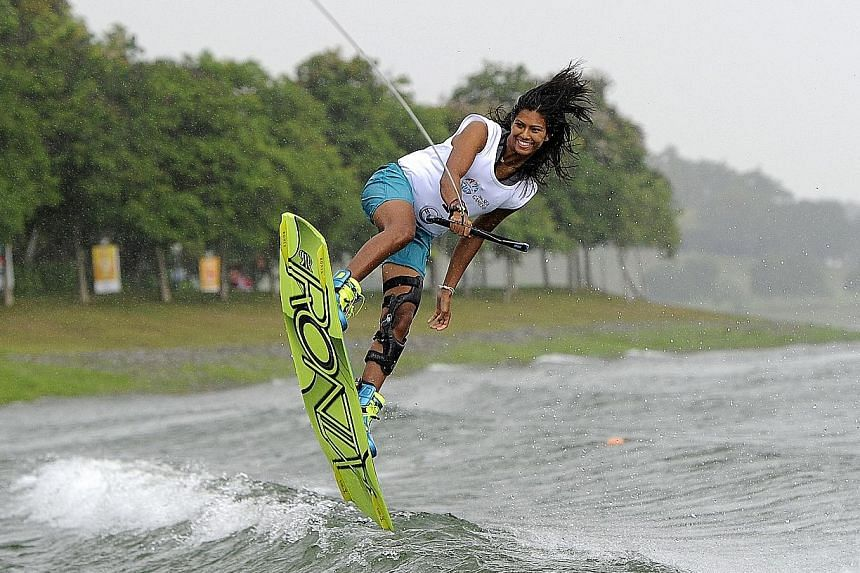 With her longest injury lay-off now behind her, Singapore wakeboarder Sasha Christian (above) is ready to defend her two golds at this year's SEA Games in Kuala Lumpur in August.