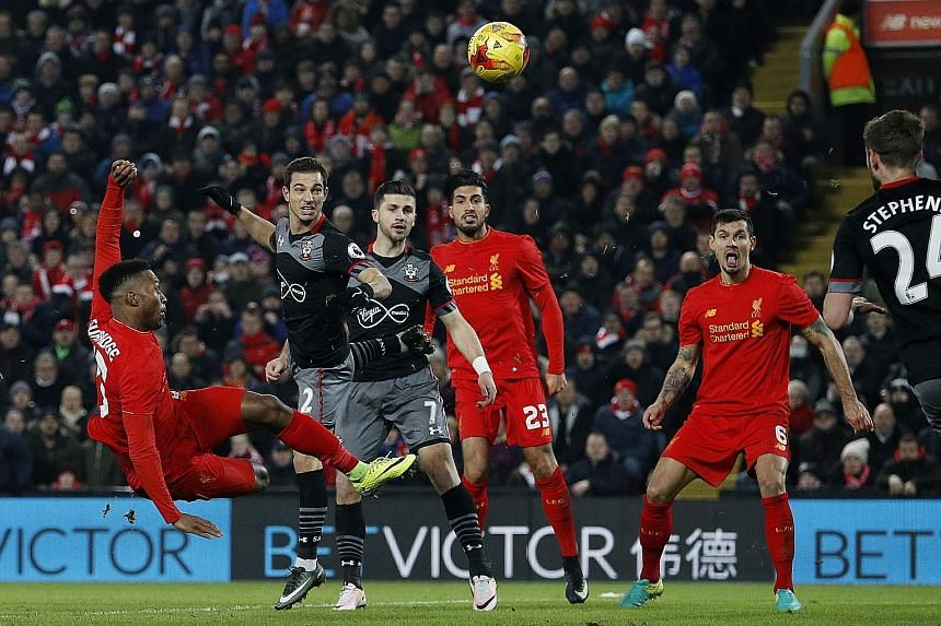Daniel Sturridge missing a gilt-edged chance during the 0-1 loss to Southampton on Wednesday. Klopp bemoaned his team's inability to score against a well-organised defence.