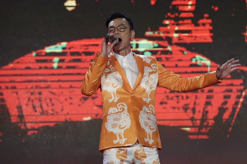 Actor-comedian Mark Lee sings during the Chinatown Chinese New Year 2017 Countdown Party on Jan 27, 2017.