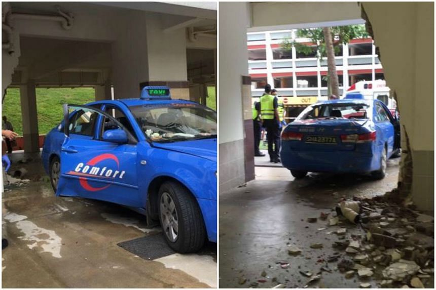 A taxi driver accidentally drove into a pillar at the void deck of a Housing Board block in Serangoon on Friday (Jan 27).