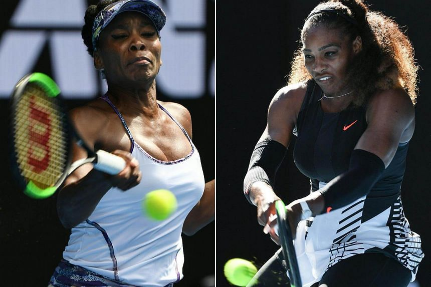 Venus Williams (left) hitting a return against Coco Vandeweghe of the US during their women's singles semi-final match and Serena Williams (right) hitting a return against Croatia's Mirjana Lucic-Baroni during their women's singles semi-final match o