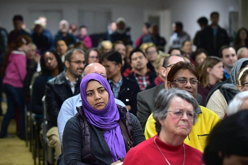 People attend an interfaith solidarity event at Masjid Gibrael Mosque in San Gabriel, California, on Jan 26, 2017.