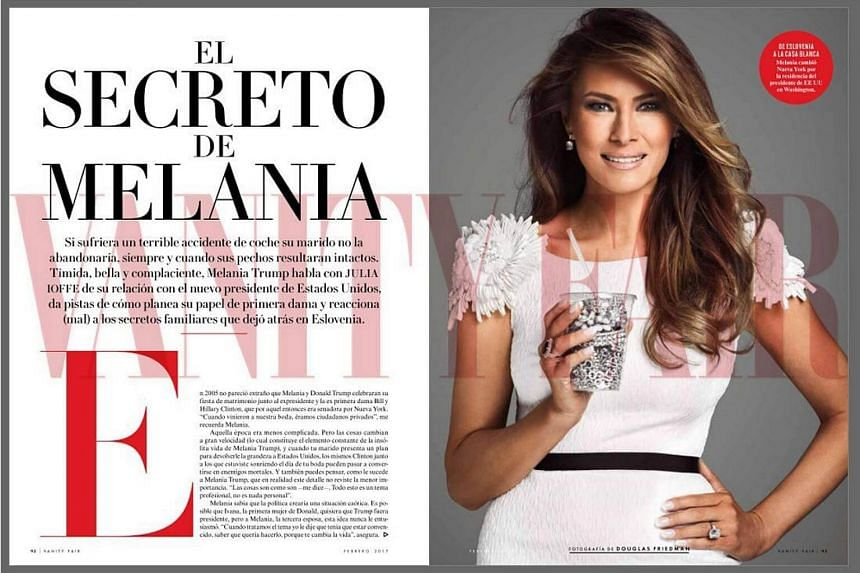 A handout picture provided by the magazine Vanity Fair Mexico on Jan 26, 2017, shows its next cover with US First Lady Melania Trump, who stars the next issue of the Mexican edition of Vanity Fair.