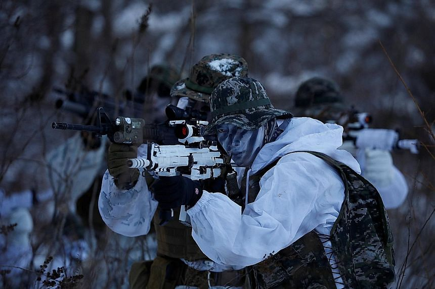 The drills on the ski slopes of Pyeongchang are aimed at increasing the proficiency of the South Korean and US Marines, in the event they have to fight a war together, said US Captain Marcus Carlstrom.