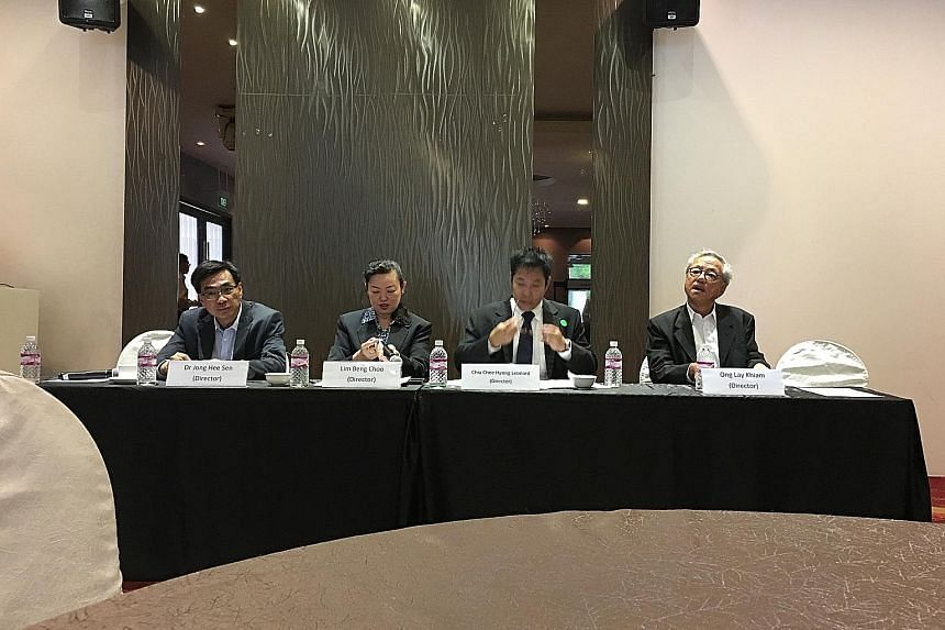 From left: Former International Healthway Corporation board members Dr Jong Hee Sen, Ms Lim Beng Choo, Mr Leonard Chia and Mr Ong Lay Khiam at the company's extraordinary meeting held on Monday. Aside from Dr Jong, who resigned from the board last mo