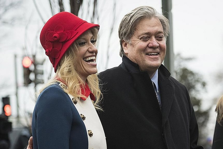 Mr Bannon, one of President Trump's most trusted advisers, with fellow Trump confidante Kellyanne Conway on Inauguration Day in Washington last Friday. Before the election, Mr Bannon headed the provocative right-wing website Breitbart News.