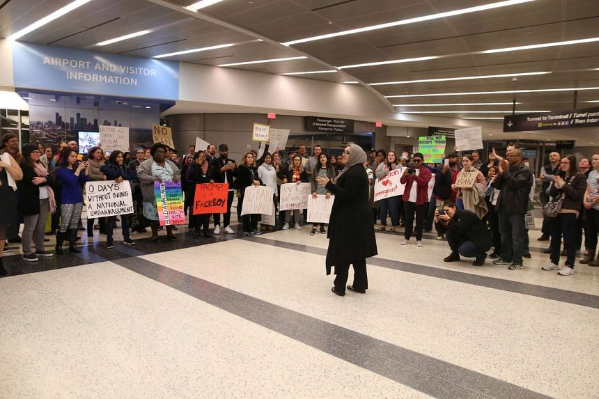 Protesters gather at George Bush Intercontinental Airport in Houston, Texas on Jan 28, 2017.