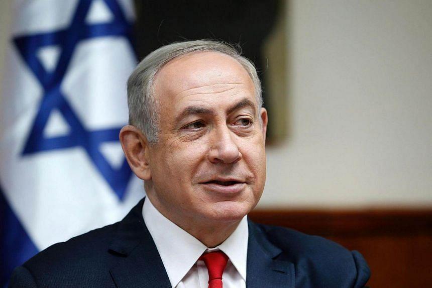 Israeli Prime Minister Benjamin Netanyahu attending the weekly cabinet meeting in Jerusalem on Jan 22, 2017.