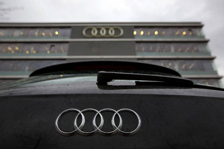 A logo sits on an Audi A6 automobile, manufactured by Volkswagen AG, outside the Audi AG headquarters in Ingolstadt, Germany, on Feb 9, 2016.