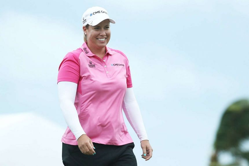 Brittany Lincicome of the United States reacts on the eighteenth green after winning the Pure Silk Bahamas LPGA Classic on Jan 29, 2017 in Paradise Island, Bahamas.