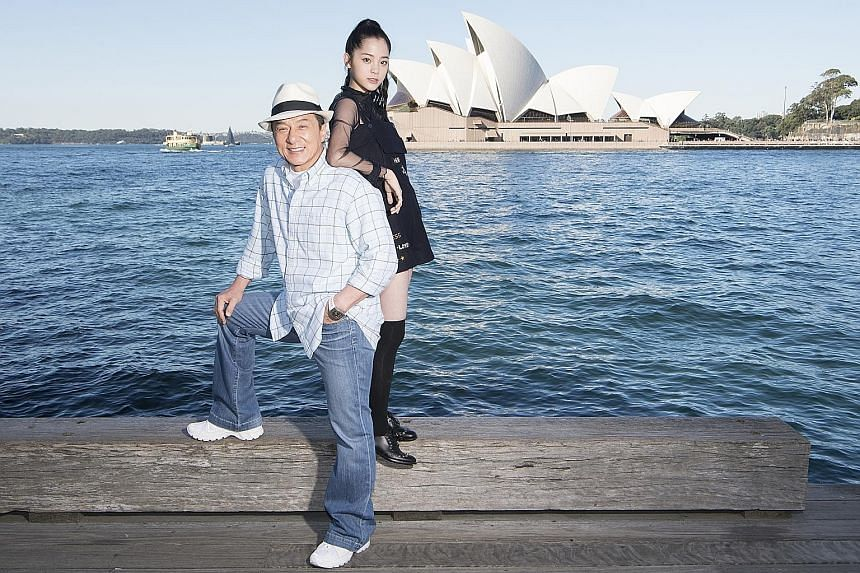 Jackie Chan and Ouyang Nana promoting Bleeding Steel, a Chinese- Australian production partly shot at the Sydney Opera House last year. China is among 12 countries to have co-production agreements with Australia.